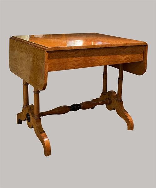 Salontisch mit Schublade 076x085(135)x069 Birke furniert u. massiv 1830