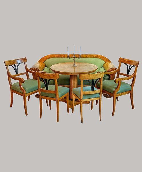 Sitzensemble Sofa Birke 200 Armlehnstühle u. Stühle 1820