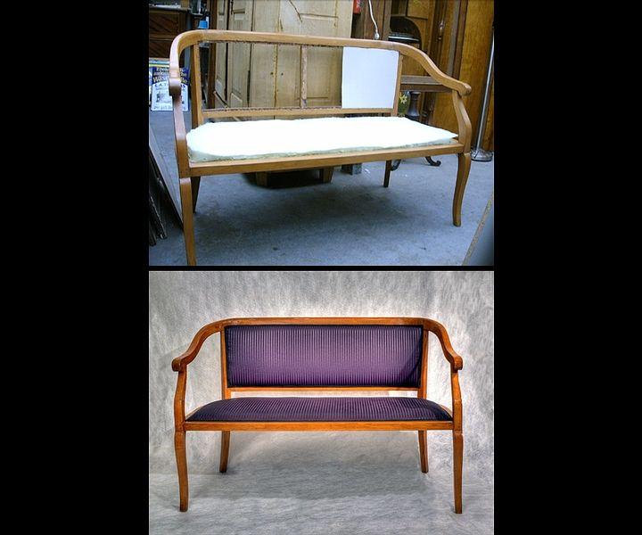 Sofa restaurieren, Polster erneuern, neuer Stoffbezug, antike Möbel aufarbeiten, neue Oberfläche an antiken Möbeln