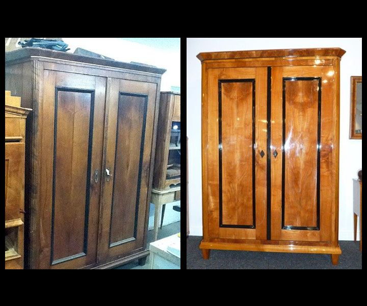 biedermeier schrank kirschbaum vorher nachher antiquit ten daniel c nagel bad honnef. Black Bedroom Furniture Sets. Home Design Ideas