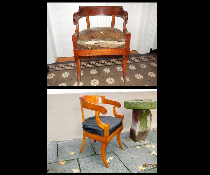 originaler biedermeier armlehnstuhl kirschbaum massiv 1810 antiquit ten daniel c nagel bad. Black Bedroom Furniture Sets. Home Design Ideas