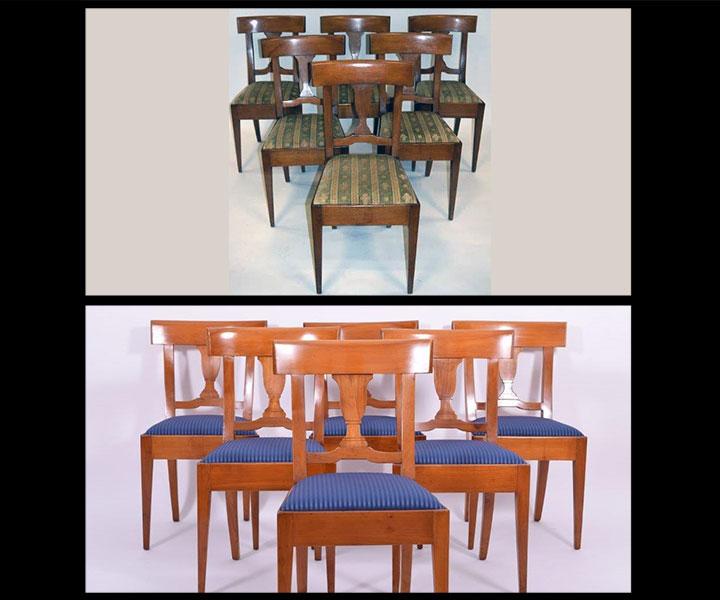antike Kirschbaumstühle aufarbeiten, restaurieren, mit neuem Stoff beziehen