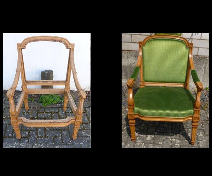 Federkern, Polsterung und Stoffbezug neu für Antiquitäten, antike Sofas, antike Armlehnstühle